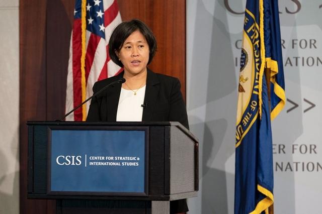 Đại diện Thương mại Mỹ Katherine Tai phát biểu tại CSIS ngày 4/10. Ảnh: Bloomberg