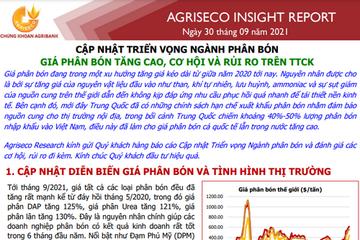Agriseo: Triển vọng ngành phân bón - Giá phân bón tăng cao, cơ hội và rủi ro trên TTCK