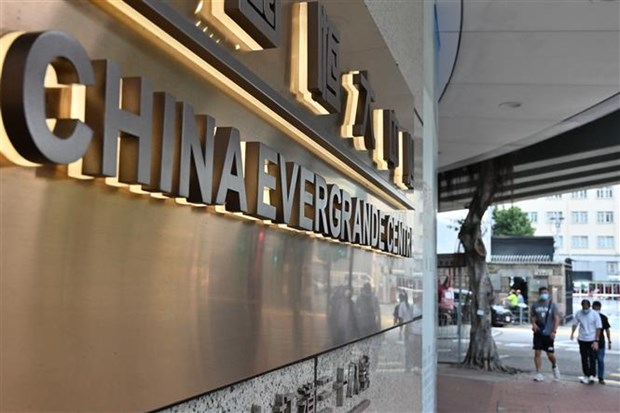 Văn phòng của tập đoàn bất động sản Evergrande tại Hong Kong (Trung Quốc). (Ảnh: AFP/TTXVN)