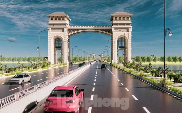 """Phương án thiết kế kiến trúc theo phong cách """"Xứ Đông Dương"""" của cầu Trần Hưng Đạo. Ảnh: Tiền phong"""