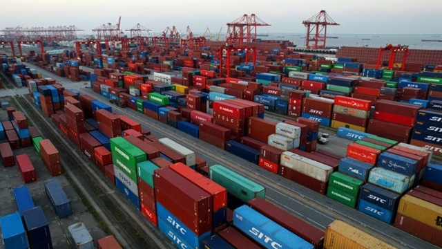 Aerial photo of Taicang port container terminal, Suzhou City, Jiangsu Province in China, Oct. 4, 2021.