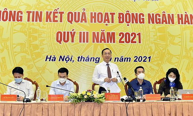 Phó thống đốc Đào Minh Tú chủ trì cuộc họp chiều 12/10. Ảnh: SBV.