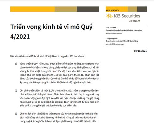 KBSV: Triển vọng kinh tế vĩ mô quý IV/2021